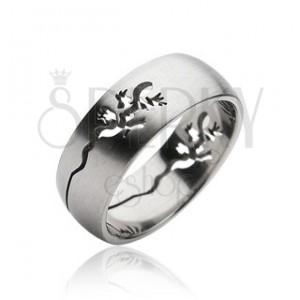 Sebészeti acélból készült gyűrű - kivágott gyíkocska