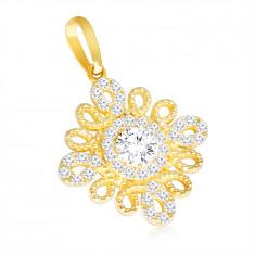 375 arany medál – spirális körvonal virág alakban, átlátszó cirkónia középen