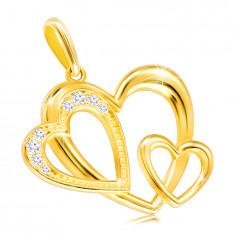Medál 9K sárga aranyból – három szív körvonala, átlátszó cirkóniák