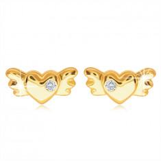 9K arany beszúrós fülbevaló – szimmetrikus teli szív szárnyakkal és egy átlátszó cirkóniával
