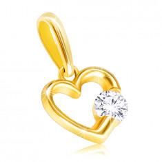 9K sárga arany medál – fényes szívkörvonal átlátszó cirkóniával
