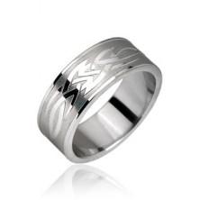 Sebészeti acélból készült gyűrű - törzsi motívum