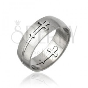 Sebészeti acélból készült gyűrű - kivágott kereszt