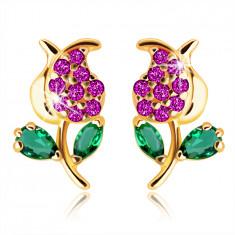 375 arany fülbevaló – tulipán szárral és levelekkel, zöld és rózsaszín cirkóniák