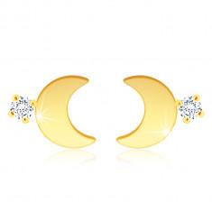 14K arany fülbevaló – fényes félhold, egy átlátszó cirkónia
