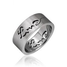 Sebészeti acélból készült gyűrű - kivágott LOVE felirat