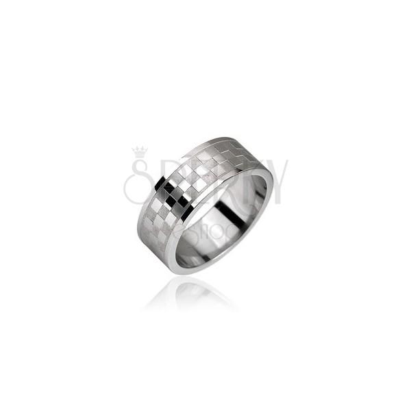 Acél gyűrű, sakktábla minta