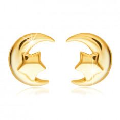585 arany beszúrós fülbevaló – félhold egy ötágú csillaggal