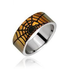 Sebészeti acélból készült gyűrű - arany pókháló és szív