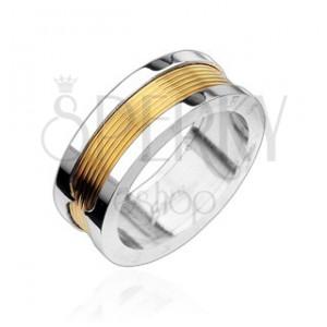 Sebészeti acélból készült gyűrű - aranyozott középső sáv
