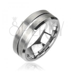 Wolfram gyűrű - csiszolt, ezüst
