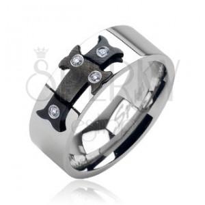 Acél gyűrű - fekete kereszt, cirkónia