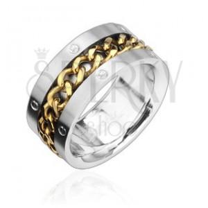 Acél gyűrű aranyozott lánccal