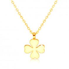 585 sárga arany nyaklánc – négylevelű lóhere szív alakú levelekkel, boldogság szimbólum