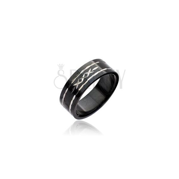 Fekete acél gyűrű - kivésett keresztek