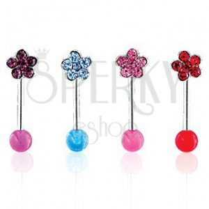 Szemöldök piercing - Flower on UV Ball