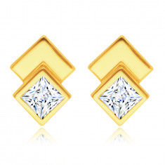 585 sárga arany beszúrós fülbevaló – két négyzet, csillogó átlátszó cirkónia