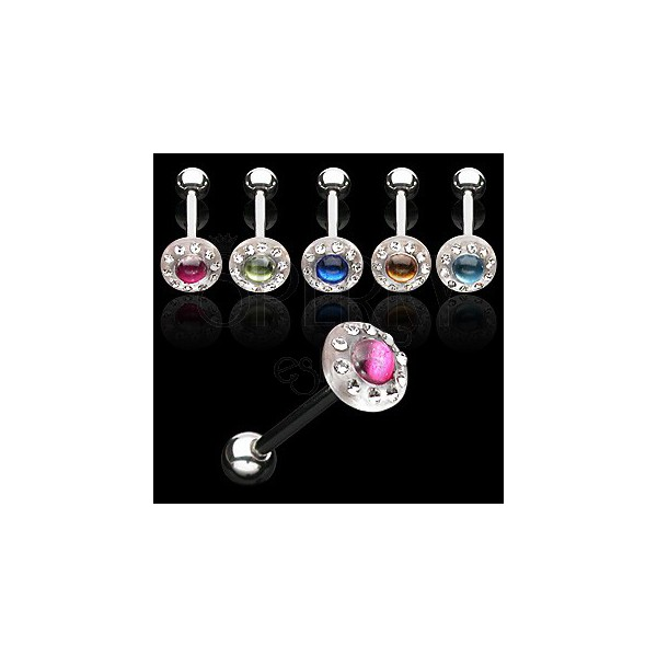Akril nyelvpiercing - színes cirkónia kő
