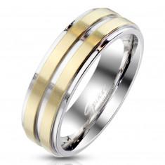 Acél gyűrű ezüst színben – két arany színű kivitelben készült sávval díszítve, 6 mm