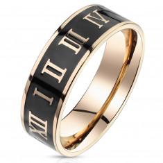 Acél gyűrű arany-rózsaszín kivitelben – római számok, sáv fekete fénymázzal, 6 mm