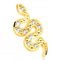 14K arany medál – mászó hullámos kígyó, apró átlátszó cirkóniák