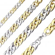 Acél lánc ezüst-arany színű kivitelben – enyhén metszett szélű fényes láncszemek, 7 mm