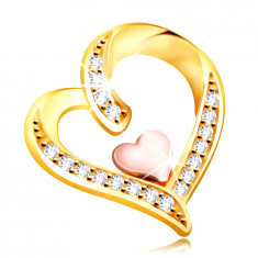 Medál 14K aranyból – cirkóniákkal díszített szabálytalan szív egy kisebb szívvel középen