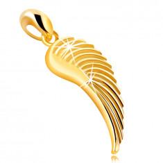 Medál 585 sárga aranyból – angyalszárny, fényes gravírozott felület