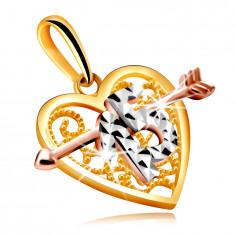 Medál kombinált aranyból szív alakban egy nyíllal – díszes 15-ös szám