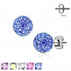 Acél fülbevaló ezüst színben – golyó kicsi csillogó kristályokkal díszítve, 7 mm