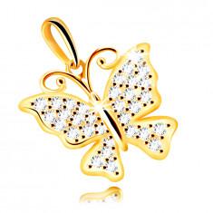 Medál 14K aranyból – pillangó átlátszó csillogó cirkóniákkal díszítve
