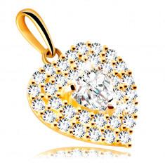 Medál 14K aranyból – szív csillogó cirkóniákkal díszítve, beágyazott cirkónia szív
