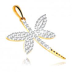 Medál kombinált aranyból – szitakötő csillogó átlátszó cirkóniákkal kirakva