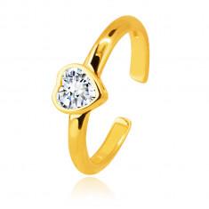 14K arany fülpiercing – gyűrű egy szív alakú foglalatban elhelyezett cirkóniával díszítve