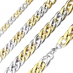 Acél lánc ezüst-arany színű kivitelben – enyhén metszett szélű fényes láncszemek, 15 mm