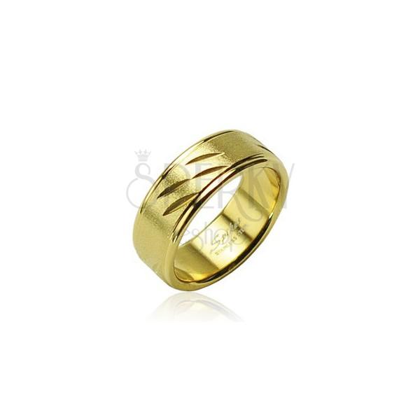 Acél arany gyűrű, finom bevágások