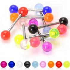 Titánium nyelv piercing - UV party golyócskák