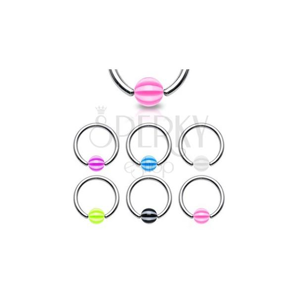 Karika piercing - csíkos gömb