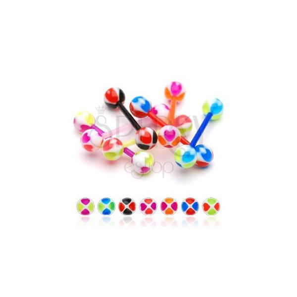 Nyelvpiercing - vidám golyócskák, színes szívek