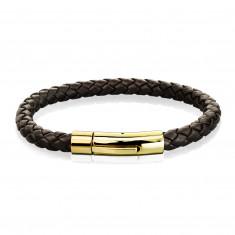 Bőr fonott karkötő sötétbarna színben - acél arany színű kapcsolás