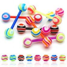 Nyelvpiercing - színes hullámzó vonalak