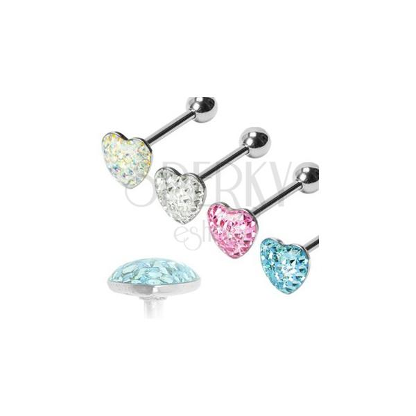 Nyelv piercing - romantikus szívvel