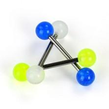 Nyelv piercing titániumból - fényes golyócskák, UV party