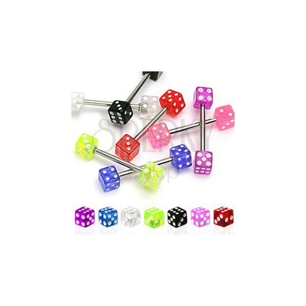 GAME nyelv piercing - két dobókocka