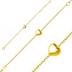 Gyerek karkötő 9K sárga aranyból – fényes sima szív, rugós karika kapocs