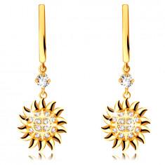 Karika fülbevaló 585 sárga aranyból – nap alakú medál, kerek átlátszó cirkónia