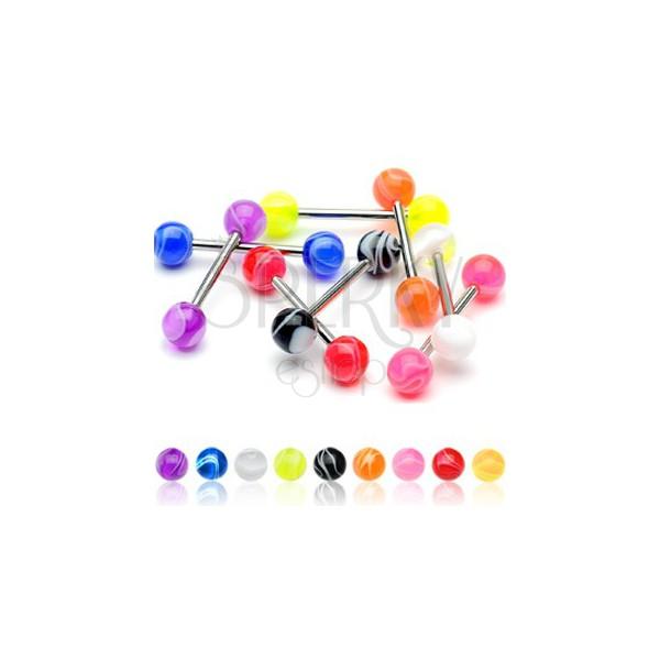 Nyelv piercing - színes golyócskák