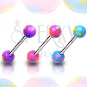 Golyós nyelvpiercing - színes csillagok