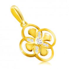 Medál 14K aranyból – virág kombinált szirmokkal, cirkónia egy foglalatban