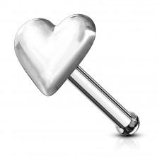 925 ezüst orr piercing, egyenes szár, szív